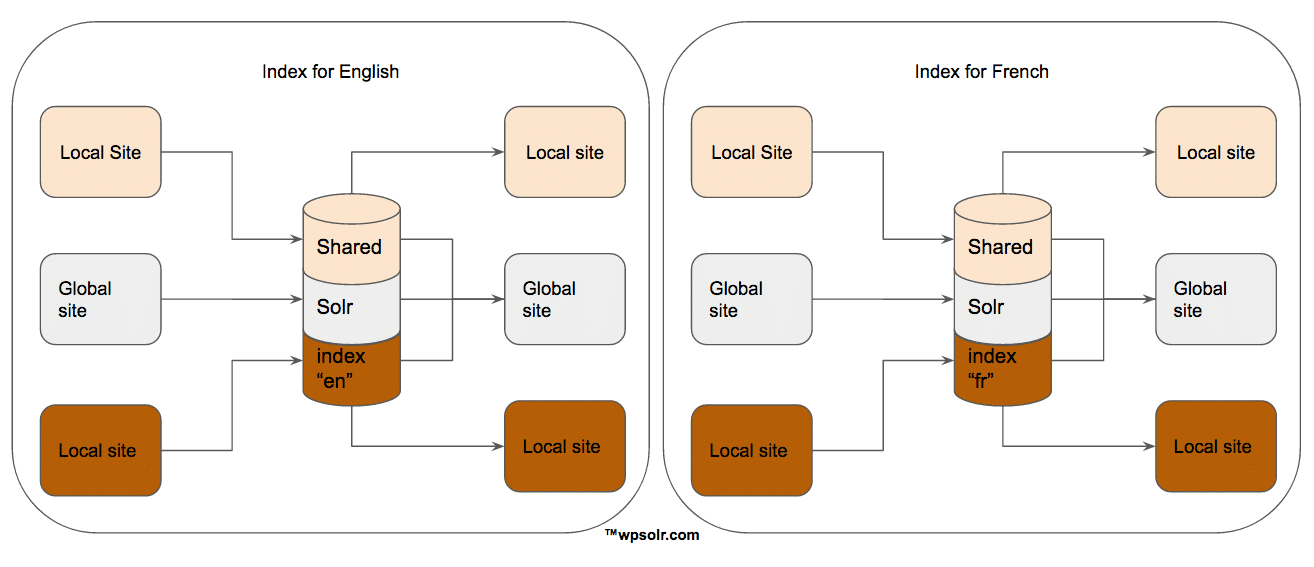 Solr can search in several languages for several sites by sharing one Solr index by language