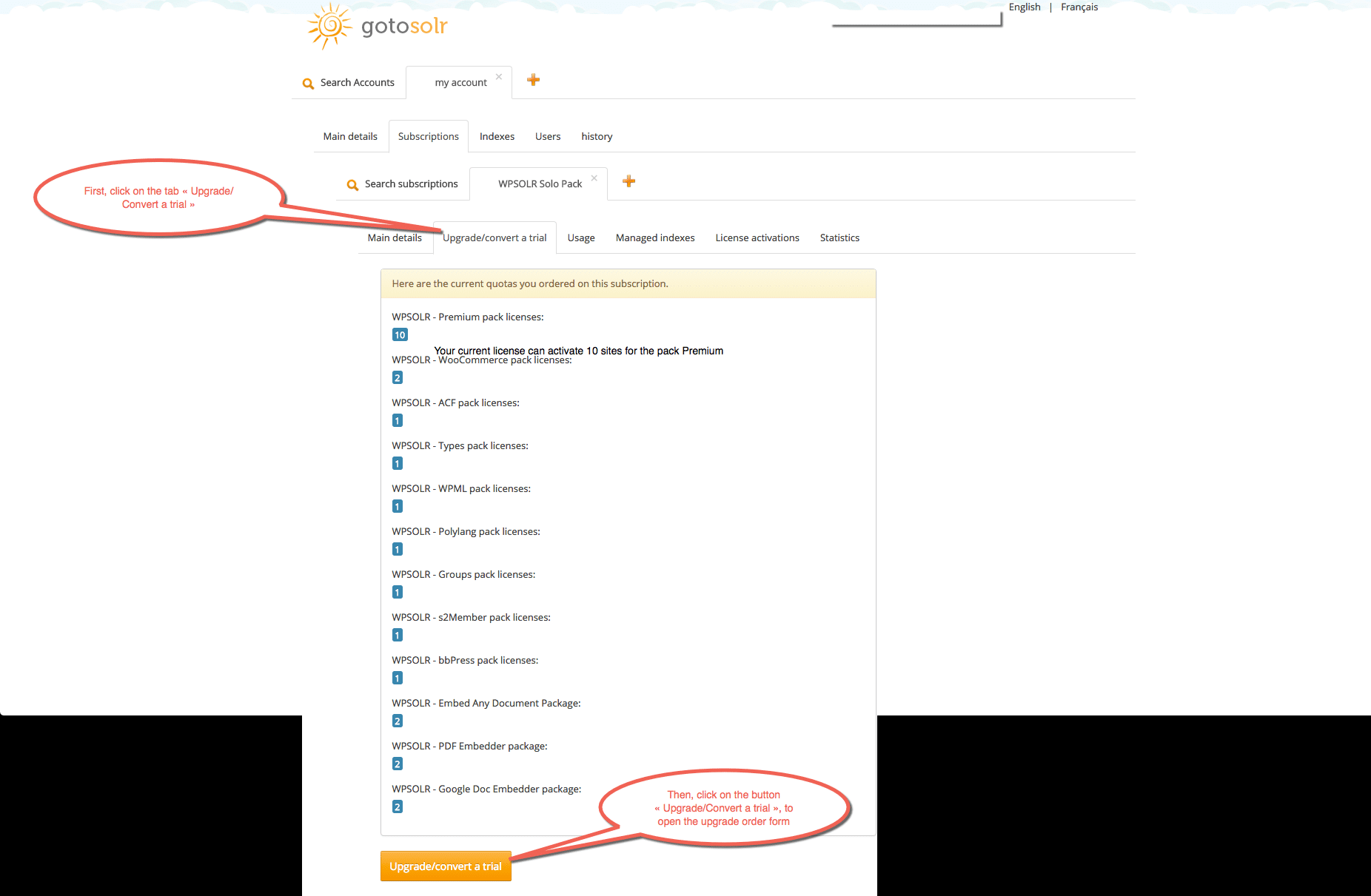 Image wpsolr-upgrade-open-upgrade-form.png of How to upgrade my subscription ?