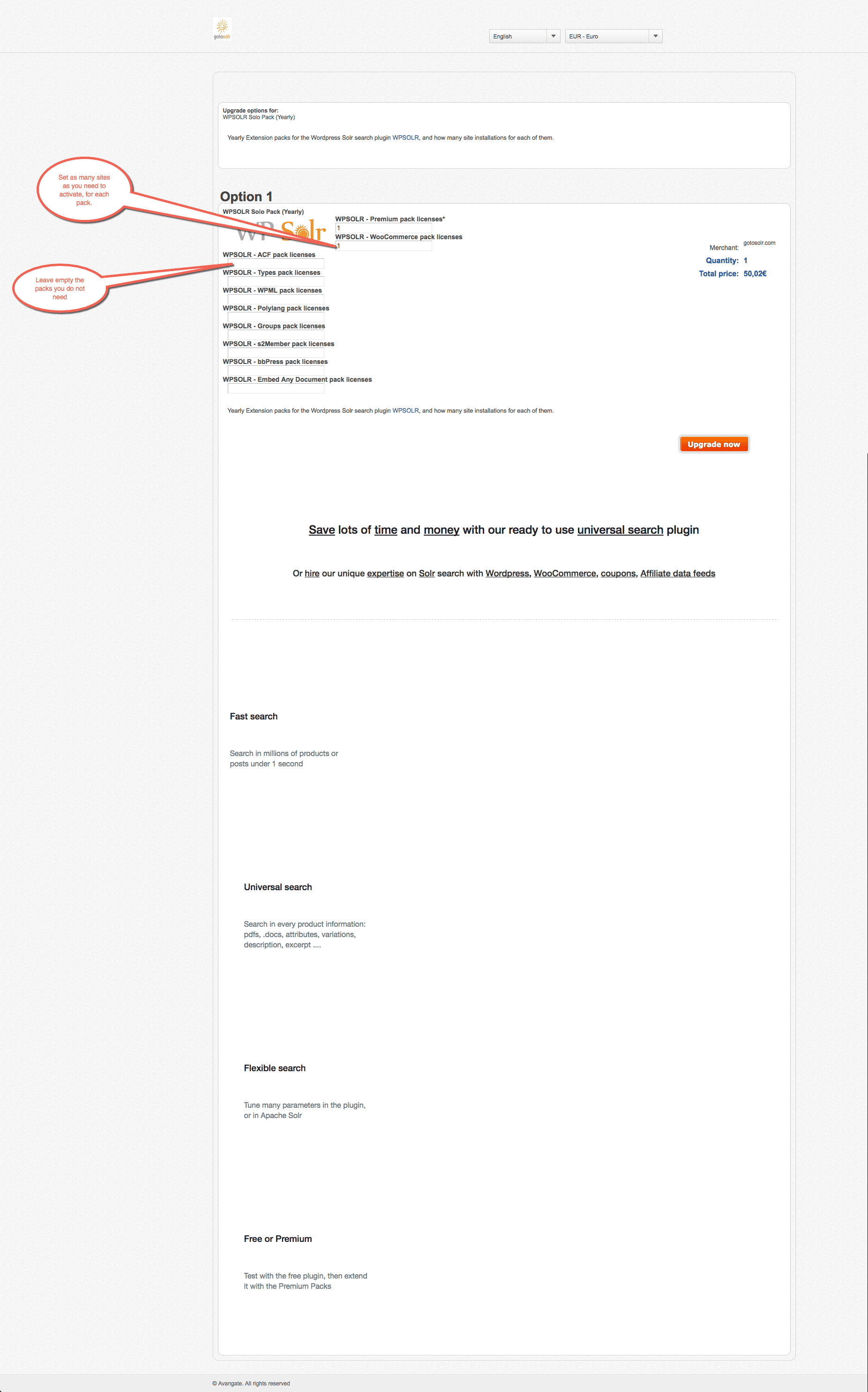 Image wpsolr-upgrade-prder-form.png of How to upgrade my subscription ?