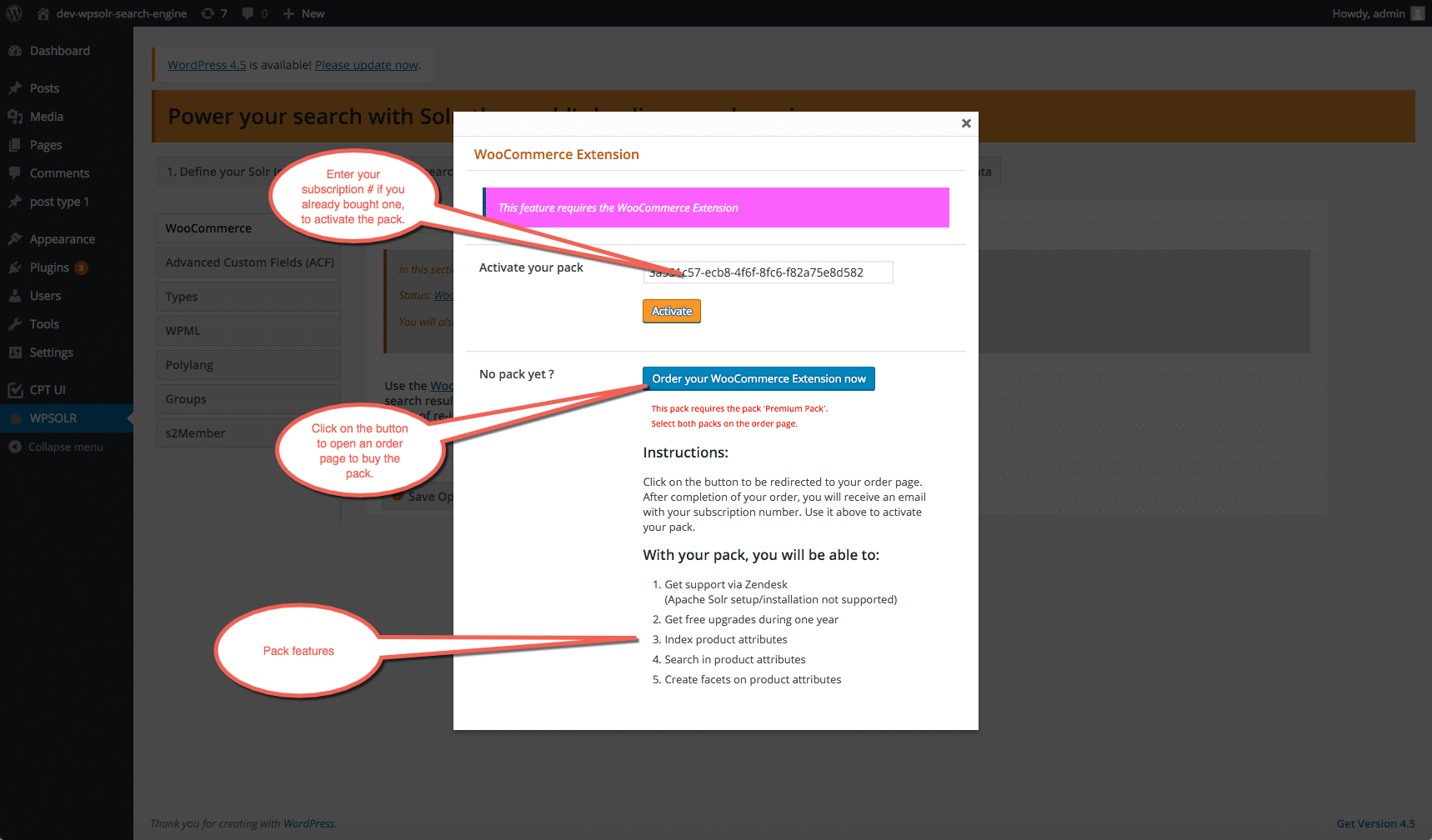 Image wpsolr_pack_popup_screen.png of How to buy a new subscription ?