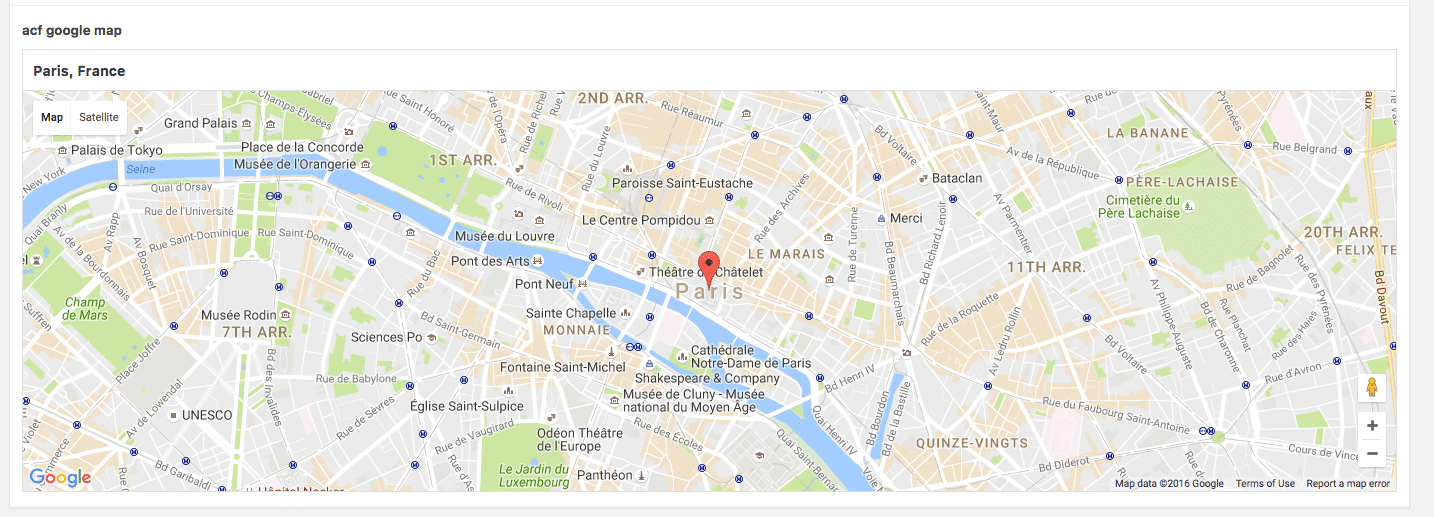 With the API key, you can now set a geolocation on any post ACF field.