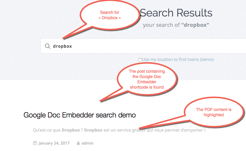 Post with Google Doc Embedder shortcode, displayed and highlighted in search results.