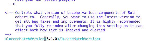 Change solrconfig.xml lucene version with your current version