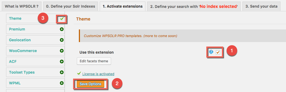 Extension activation