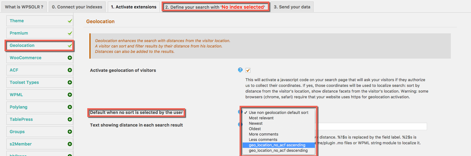Select a default sort when the search is geolocalized