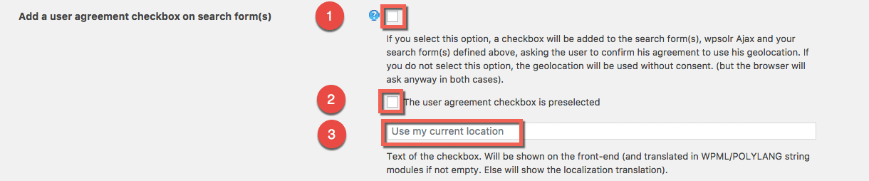 Configure the user agreement to get his coordinates captured
