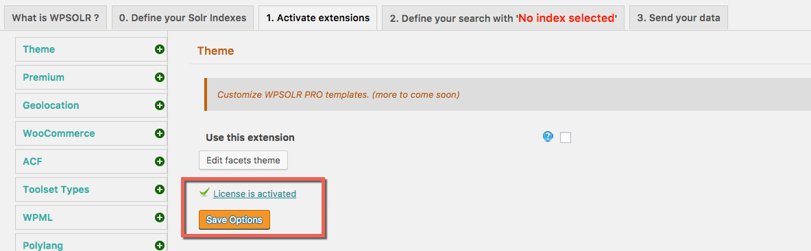 Confirmation icon that an extension license is activated