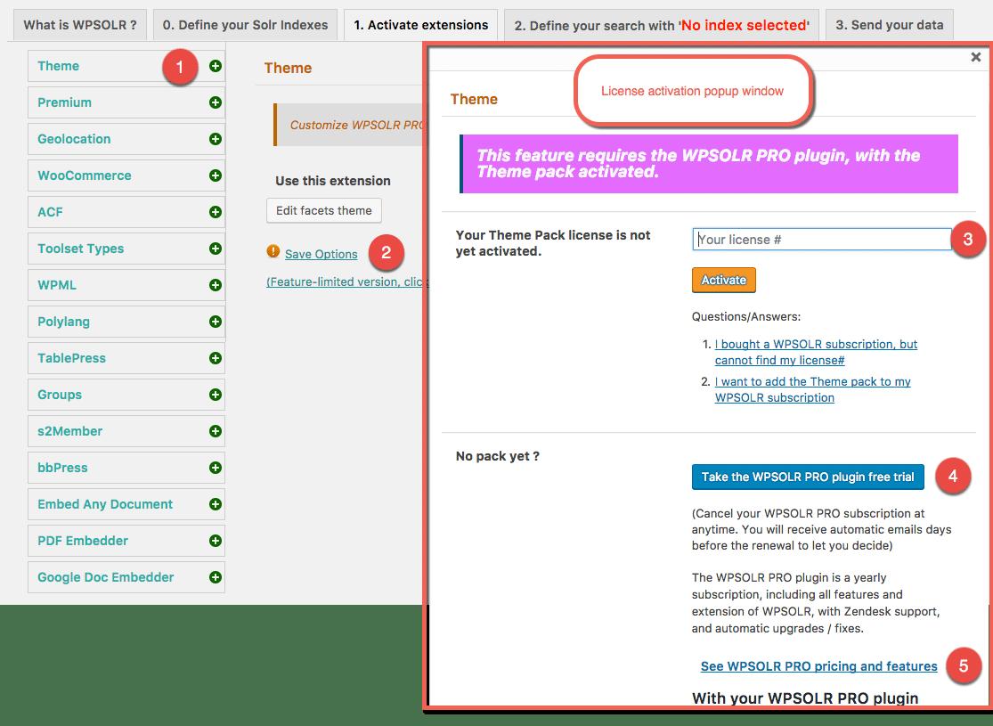 Open the license activation popup window