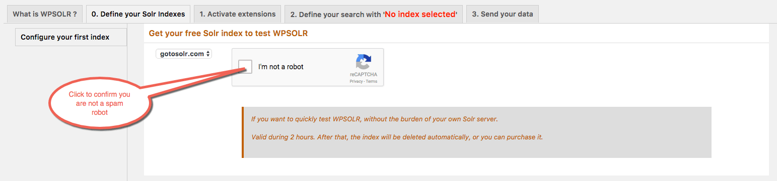 Antispam confirmation to create a temporary Gotosolr index