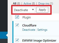 Deactivate plugins in WordPress dashboard