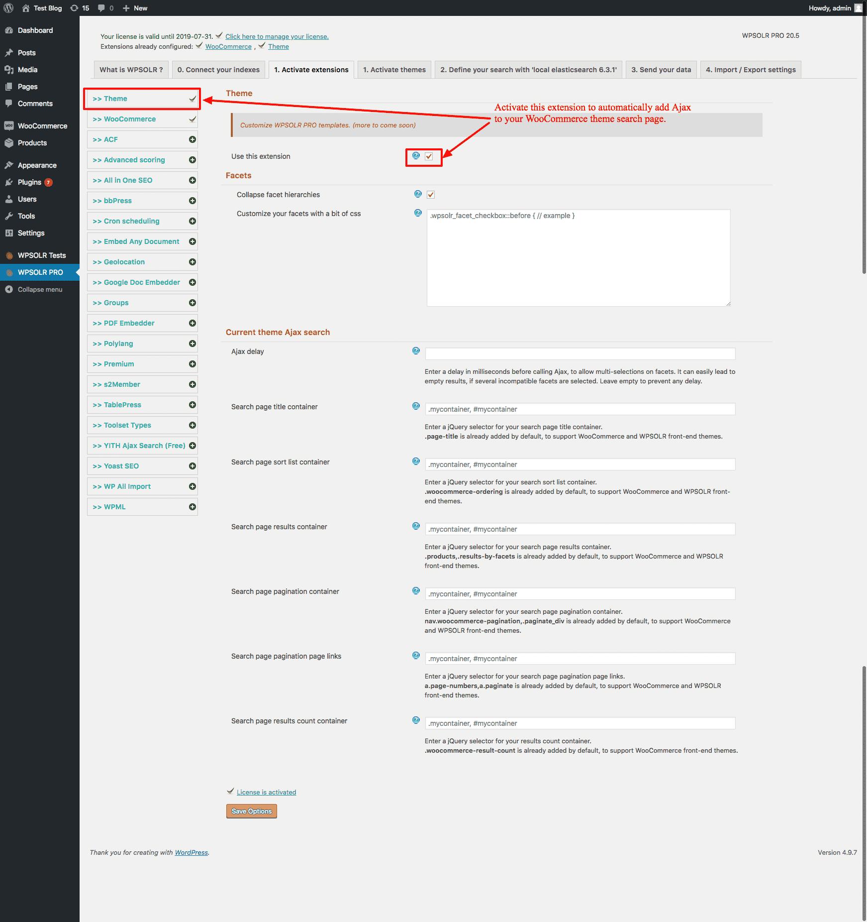WPSOLR - Woocommerce activate Ajax