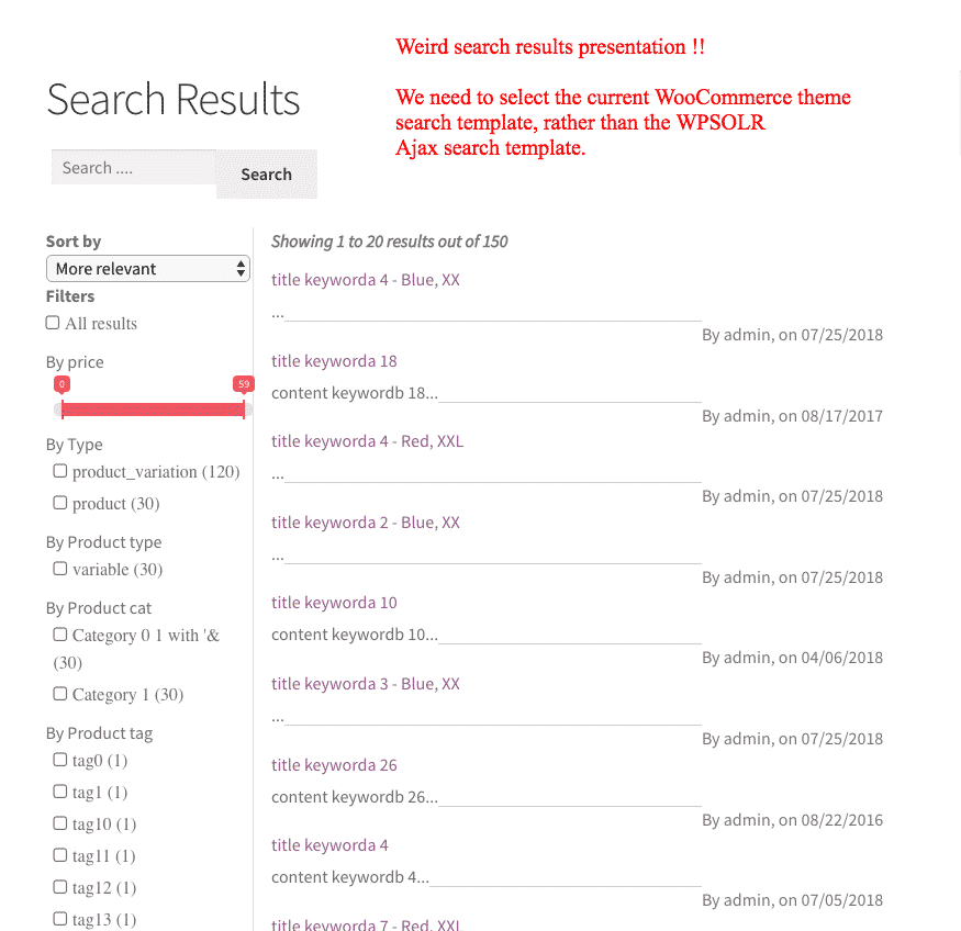 WPSOLR - Woocommerce weird search results presentation