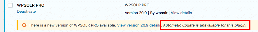 wpsolr update unavailable