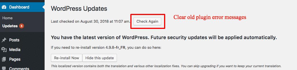 Clear WordPress updates cache