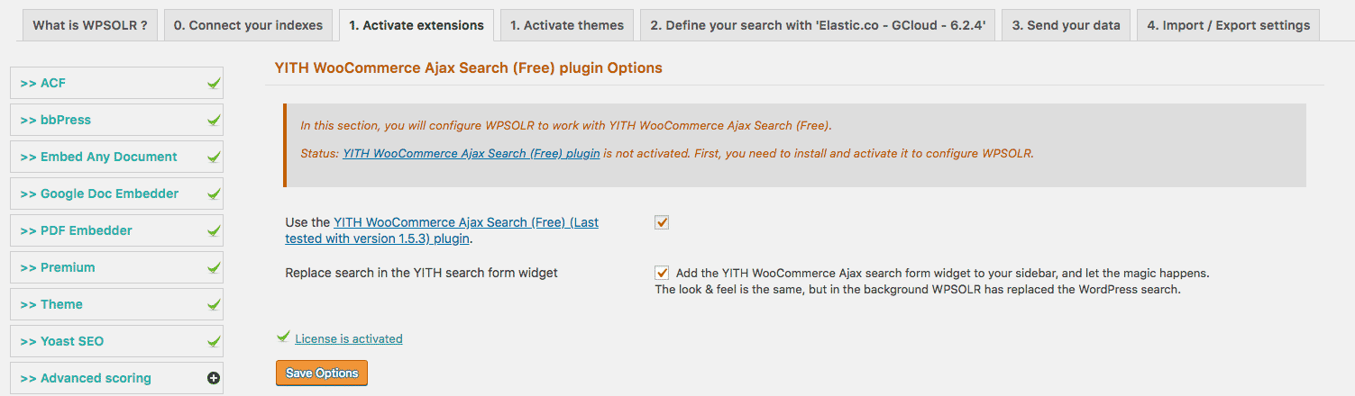 Yith Ajax search extension