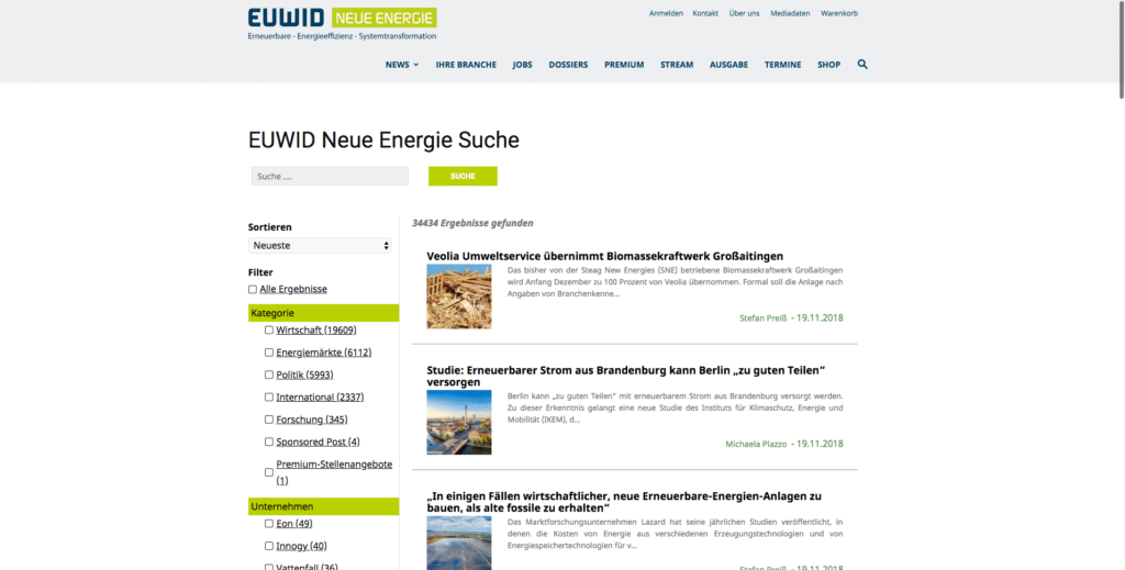 euwid-energie.de - German Renewable Energy media