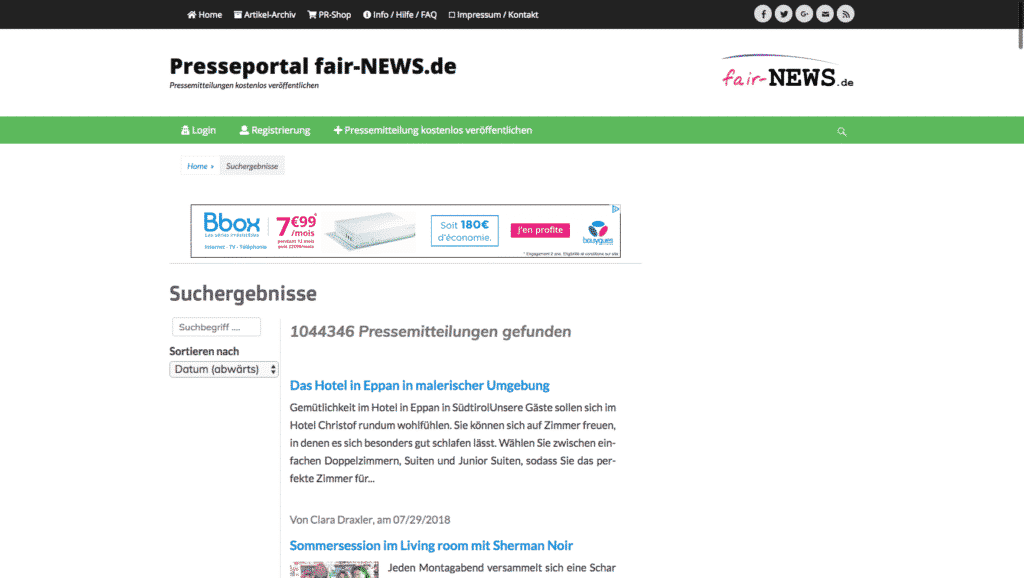 Press Portal fair-NEWS.de