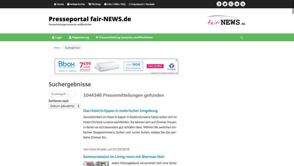 Press Portal fair-NEWS.de