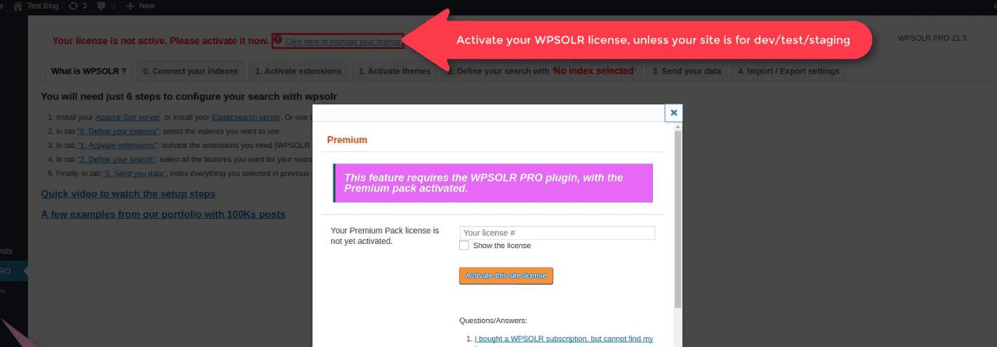 WPSOLR admin: activate a license