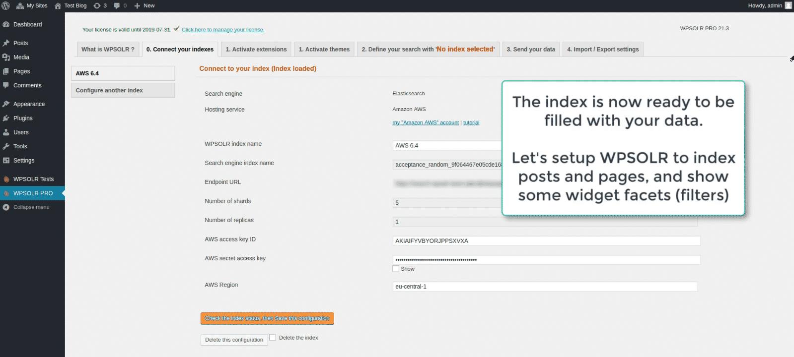 WPSOLR Amazon index: index created !