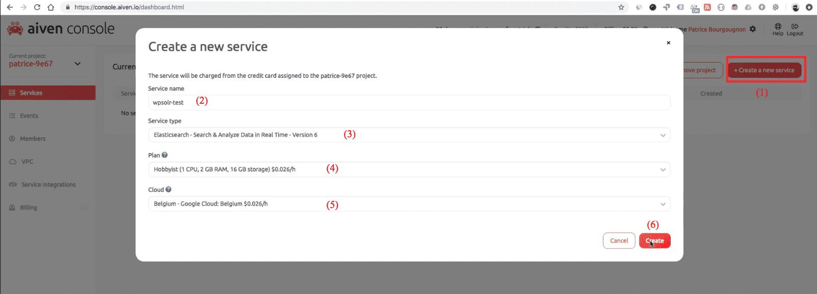 Aiven Elasticsearch: new cluster service