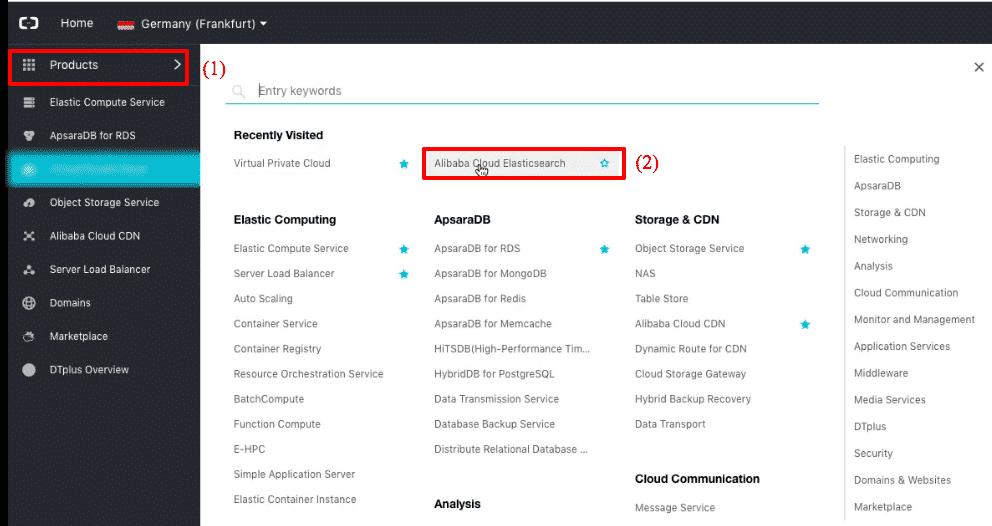 Alibaba Cloud Elasticsearch: new cluster menu
