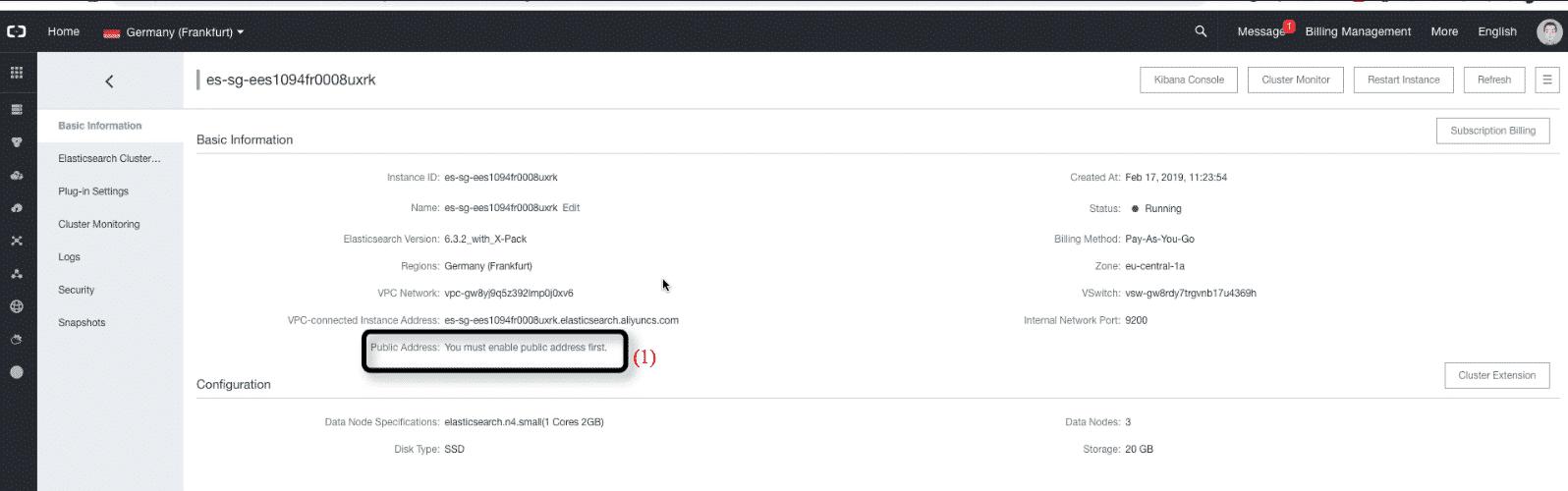 Alibaba Cloud Elasticsearch: edit cluster settings