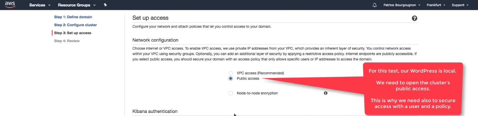 Amazon Elasticsearch: new Elasticsearch domain internet access