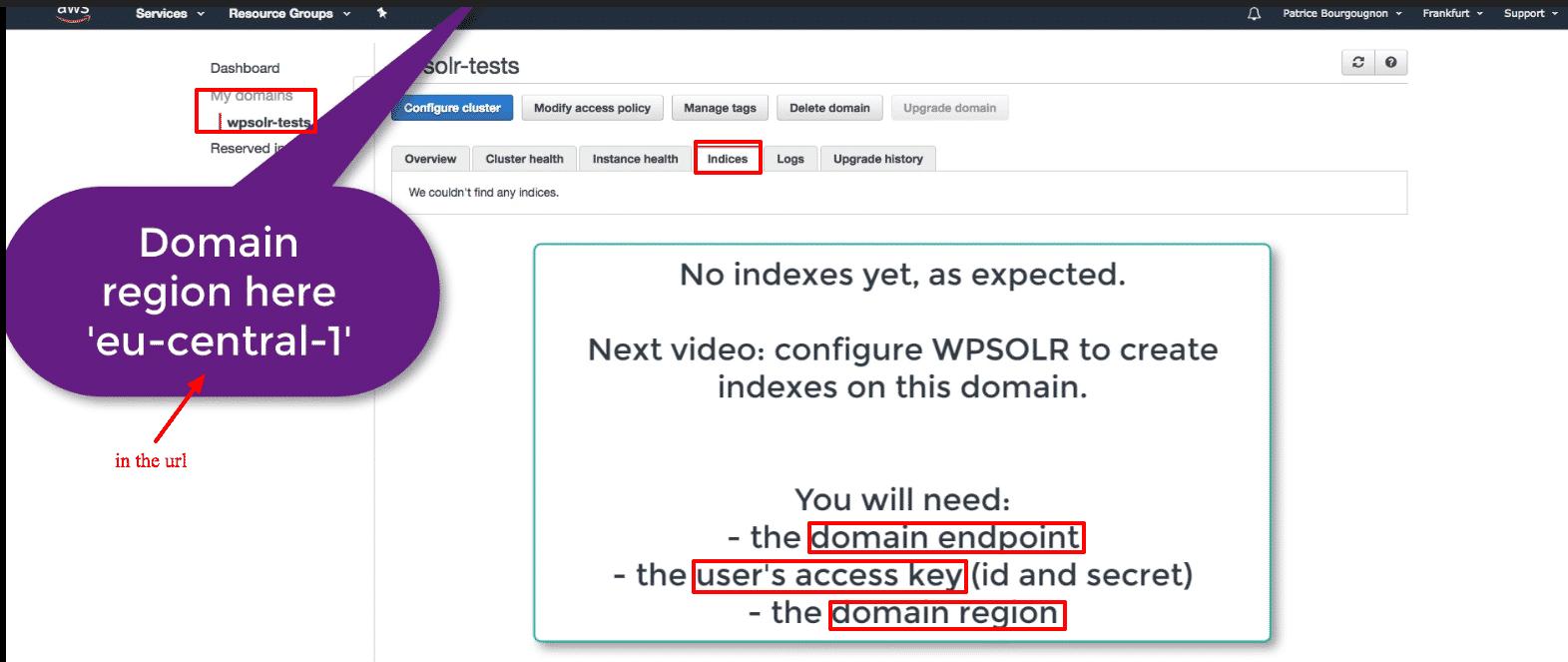 Amazon Elasticsearch: new Elasticsearch domain no indexes yet