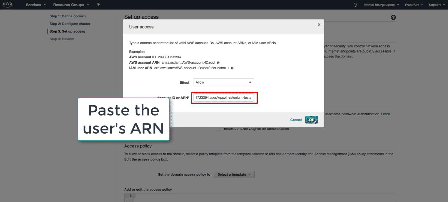 Amazon Elasticsearch: new Elasticsearch domain paste user ARN