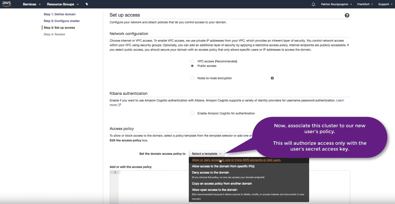Amazon Elasticsearch: new Elasticsearch domain template policy