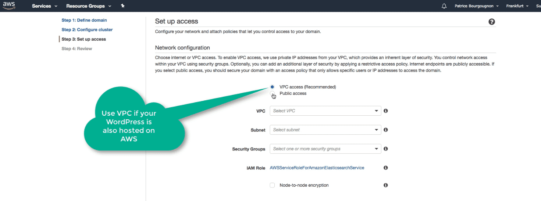 Amazon Elasticsearch: new Elasticsearch domain VPC access