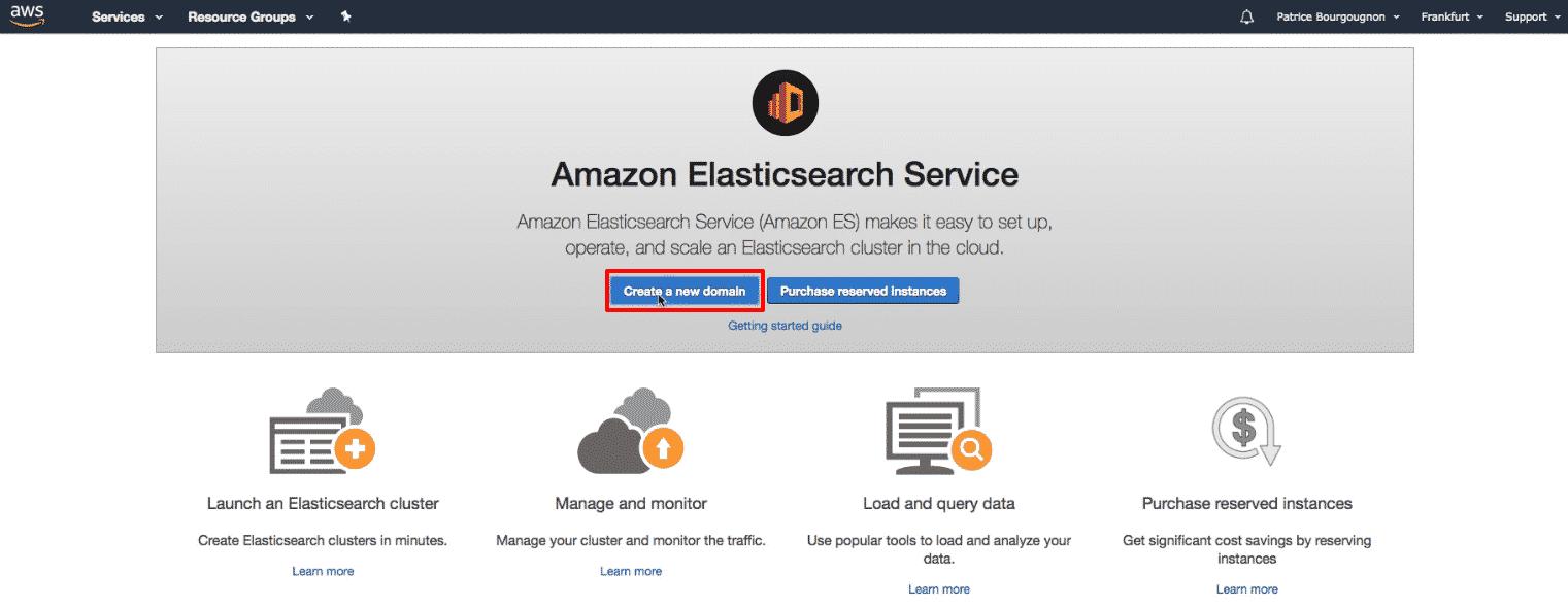 Amazon Elasticsearch: new Elasticsearch domain button