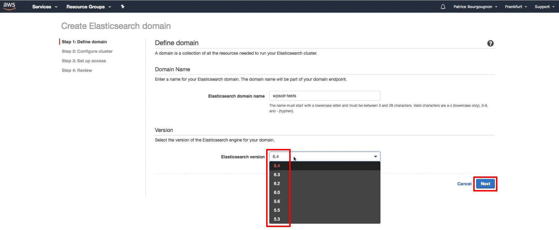 Amazon Elasticsearch: new Elasticsearch domain version