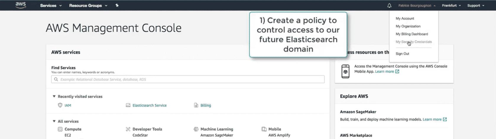 Create an Amazon AWS Elasticsearch index documentation with