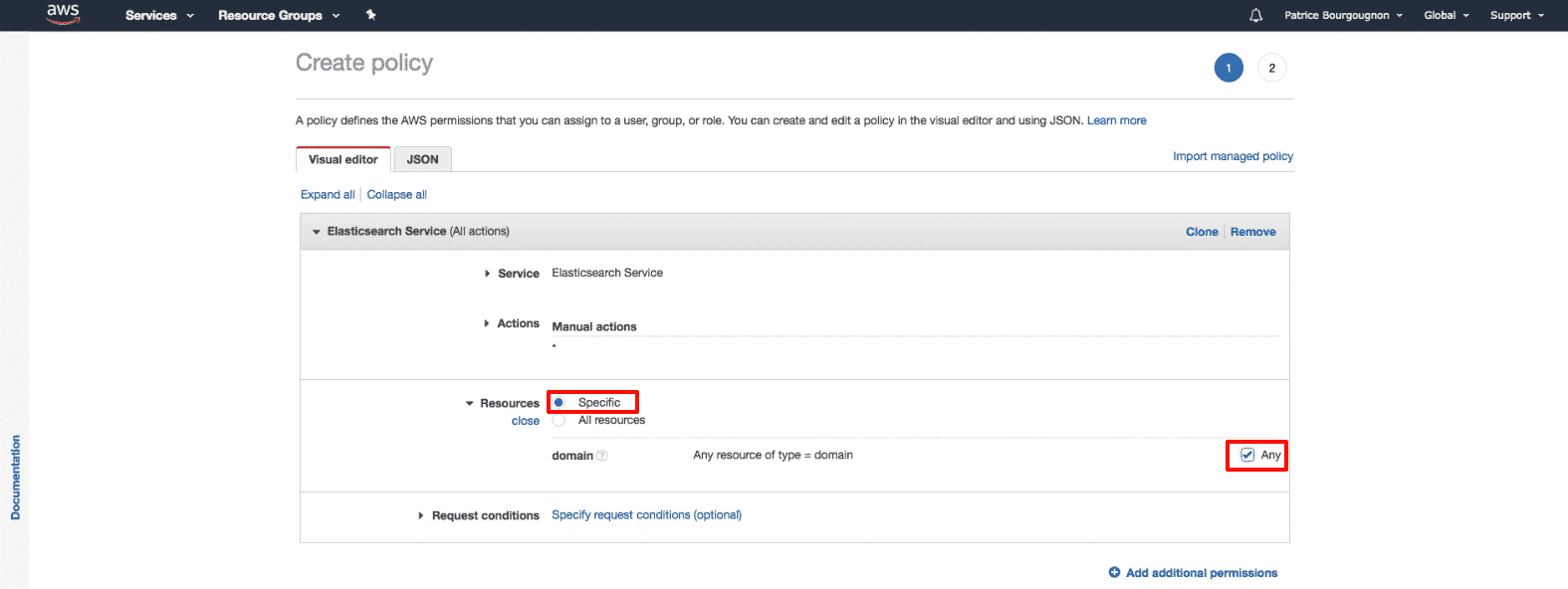 Amazon Elasticsearch: new policy select all domains