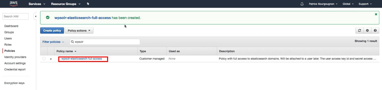 Amazon Elasticsearch: new policy created