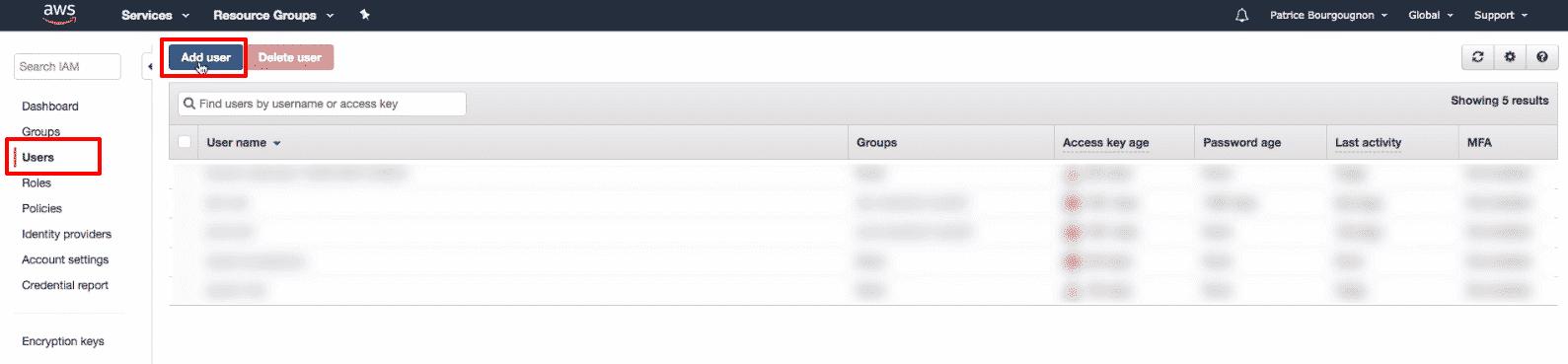 Amazon Elasticsearch: new user button