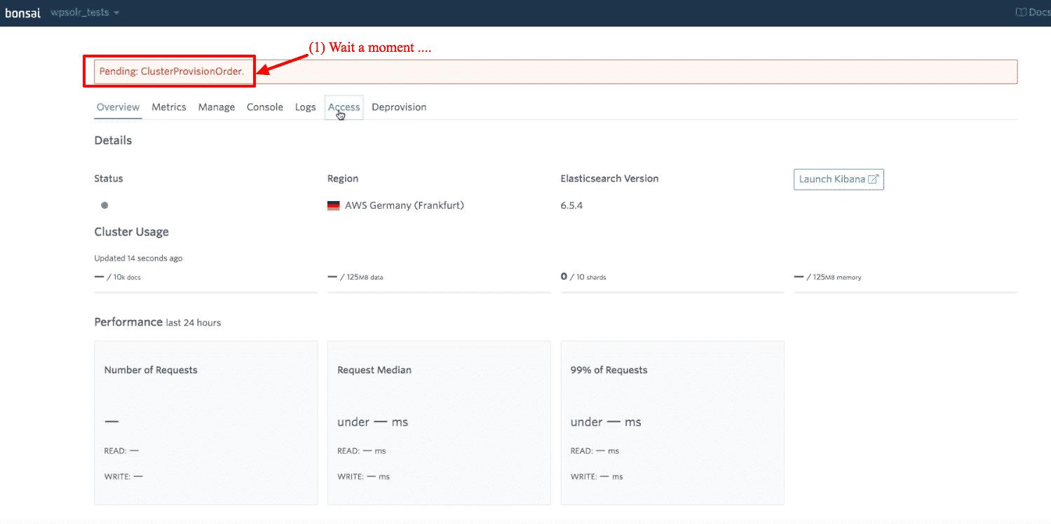 Bonsai Elasticsearch: new cluster provisioning