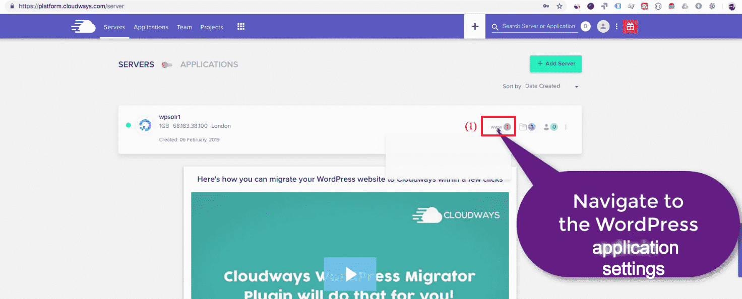 Cloudways WordPress: application settings