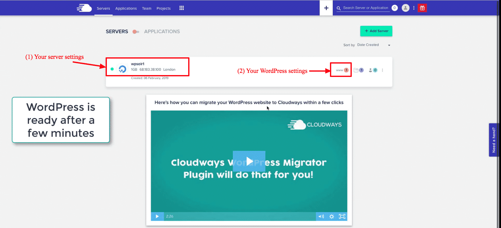 Cloudways WordPress: application is ready