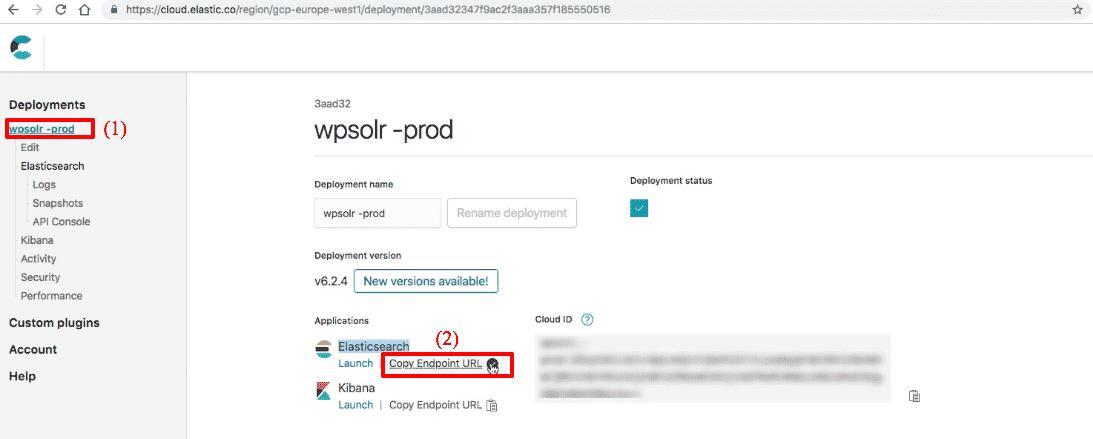 Elastic Elasticsearch: new cluster endpoint URL
