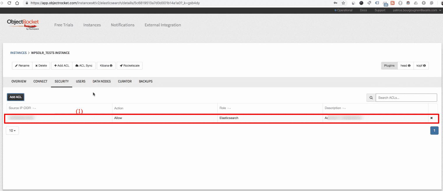 ObjectRocket Elasticsearch: cluster acl ready