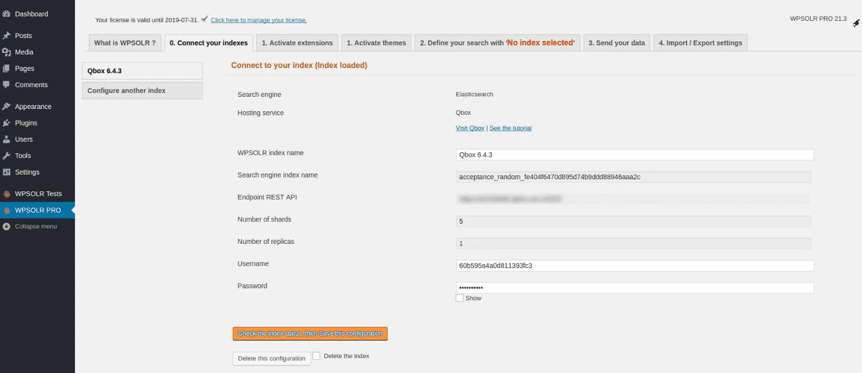 Qbox Elasticsearch: new index created