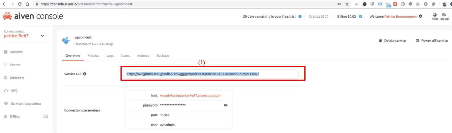 Aiven Elasticsearch: new cluster service URL