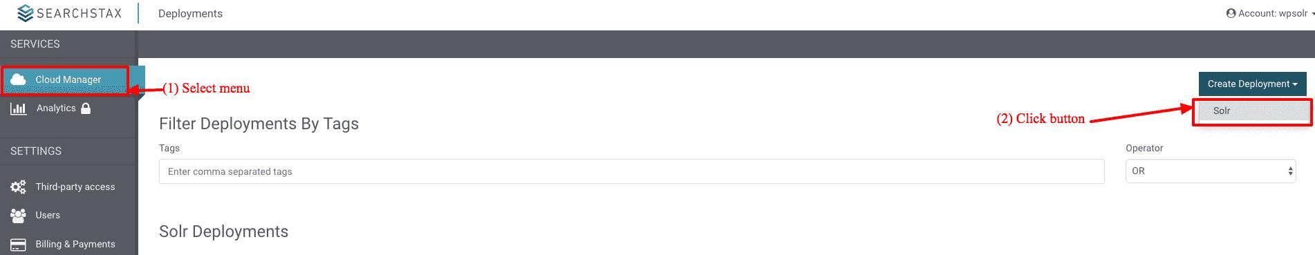 SearchStax: new deployment