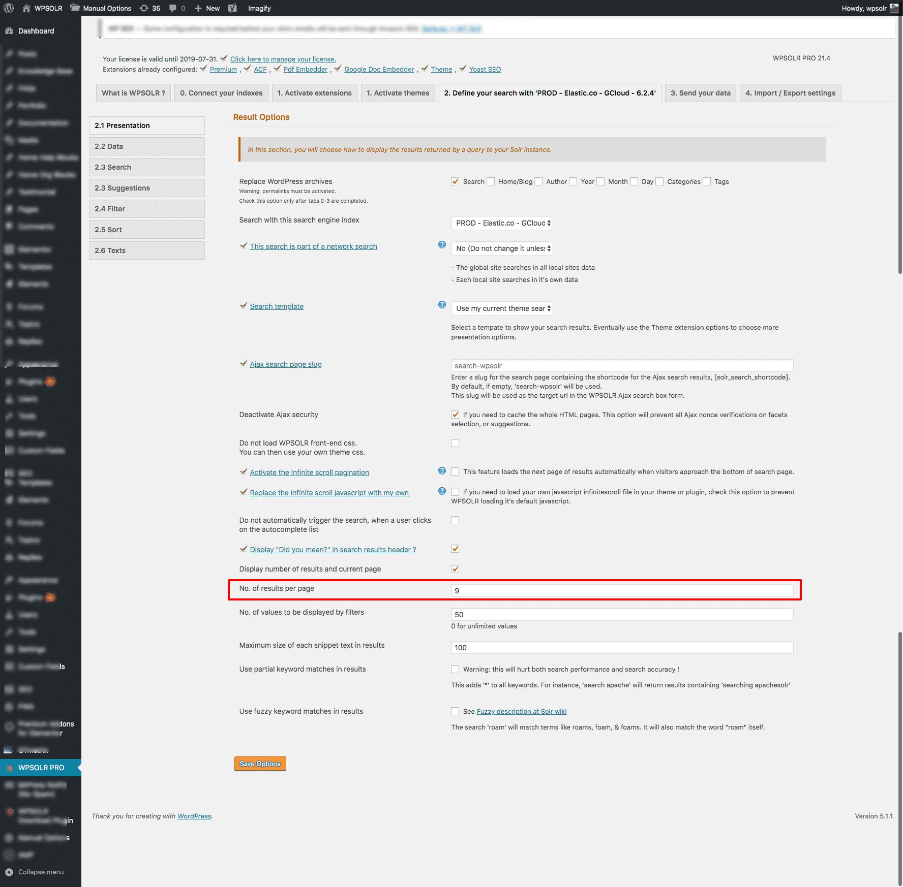 WPSOLR admin: pagination size